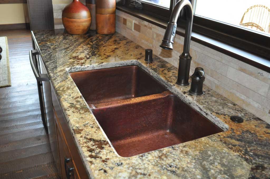Mountain Rustic Copper Kitchen Double Basin Sinks