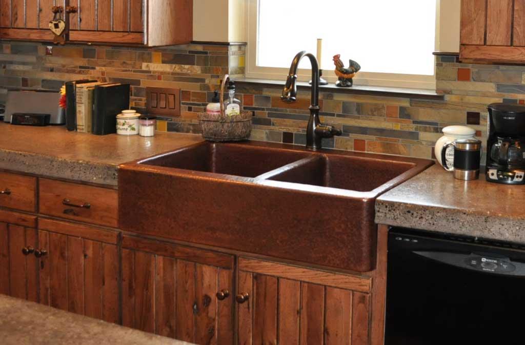 Mountain Rustic Farm Front Copper Kitchen Sink Mountain