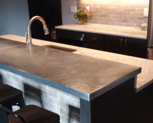 Hammered Zinc Bar Top | Mountain Copper Creations